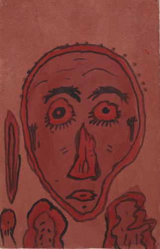 "Gaston Chaissac ""Portrait aux yeux ronds"" 1941 gouache on paper 24 x 15,5 cm"