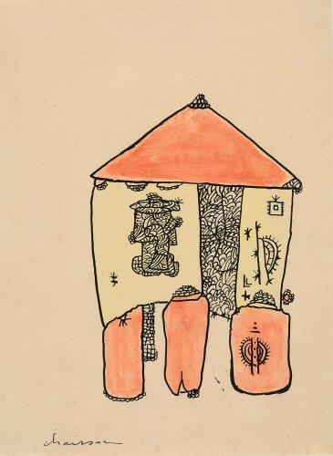 "Gaston Chaissac ""Maison sur pilotis"" 1942 Gouache and ink on paper 32 x 23,7 cm"