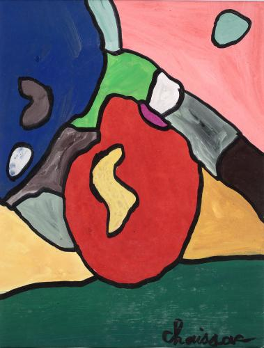 "Gaston Chaissac ""Composition"" 1961 gouache on paper 31,3 x 24,2 cm"