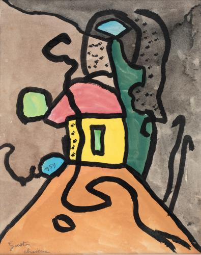 "Gaston Chaissac ""Paysage maison jaune"" 1959 gouache and ink on paper 27 x 21 cm"