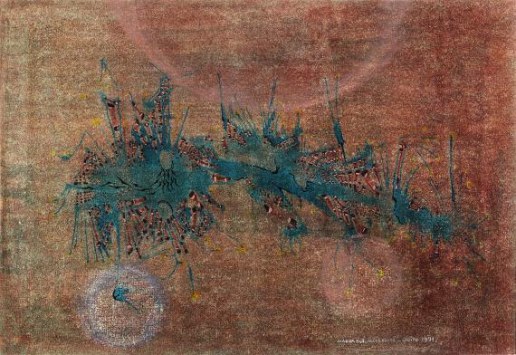 """Magda Bolumar, """"Sin título"""", 1971 pintura acrílica, tinta y goma laca sobre cartulina 35 x 50 cm"""