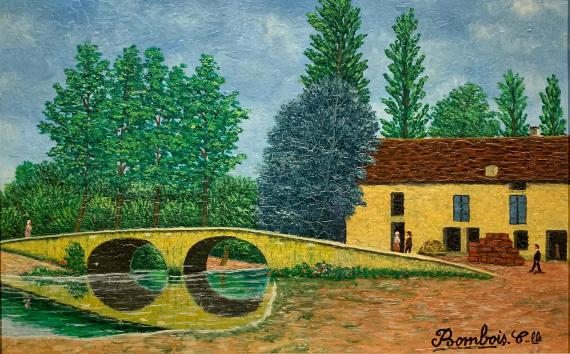 Camille Bombois 'Les Laumes-Fescia et le pont romain' oil on wood 16 x 24 cm
