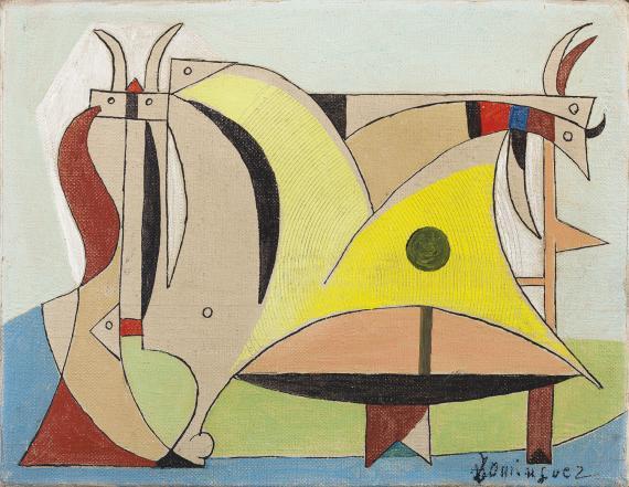 "Óscar Domínguez, ""Composición con toro y animales"", c.1950 oil on canvas14 x 18 cm"