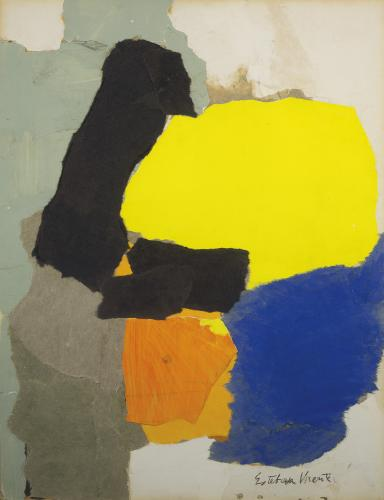"Esteban Vicente, ""Collage with Yellow, Blue and Orange"", 1963 collage, paper and charcoal on carton 69,5 x 53,5 cm (Col. Museo de Arte Contemporáneo Esteban Vicente, Segovia)"