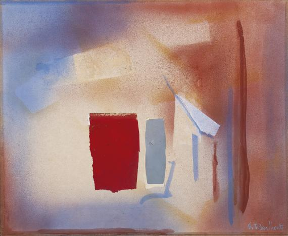 "Esteban Vicente, ""Sin título"", 1988 mixed media and collage on canvas 71 x 86,5 cm"