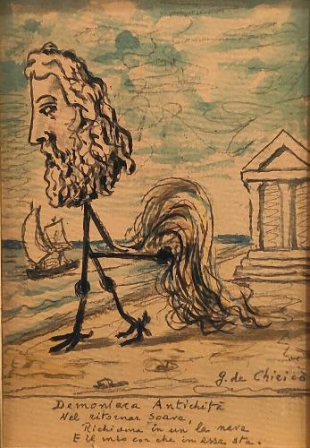 Giorgio de Chirico ' Demoniaca Antichità' 1963 watercolor and pencil on carton 18 x 12 cm