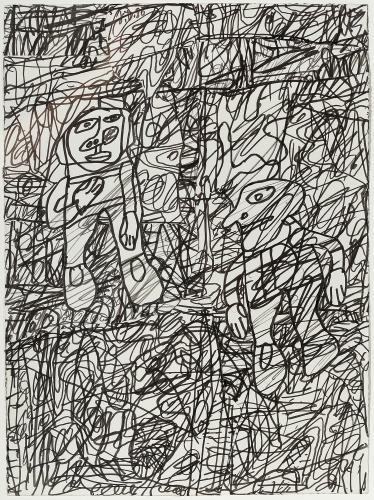 """Jean Dubuffet, """"Paysage avec deux personnages"""", 1980 ink on paper 35 x 25,5 cm"""