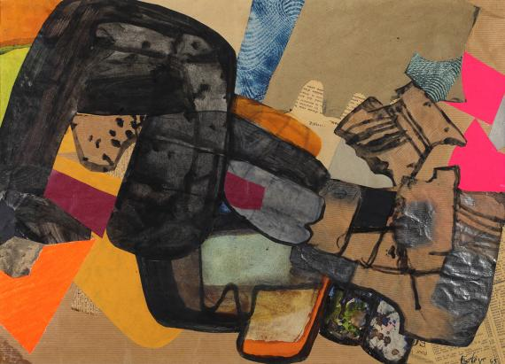 """Maurice Esteve, """"Champignola"""", 1965 collage and watercolor on paper 34,5 x 47,3 cm"""