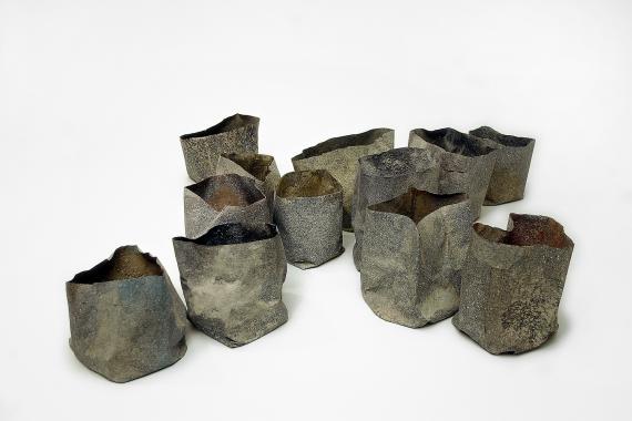 "Joan Furriols ""Dotze paperines en X"", 2002 paper, glue and marble sand 13,5 x 59 x 58,5 cm"