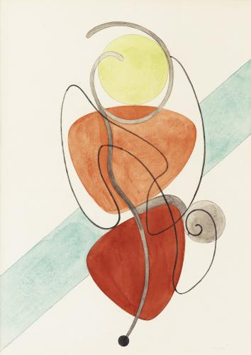 Auguste Herbin, 'Composition abstraite' water color on paper 34 x 24,5 cm