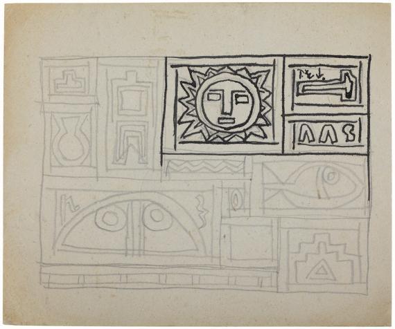 Joaquín Torres-García, 'Sin título' c.1937 lápiz y tinta sobre papel 21 x 25 cm