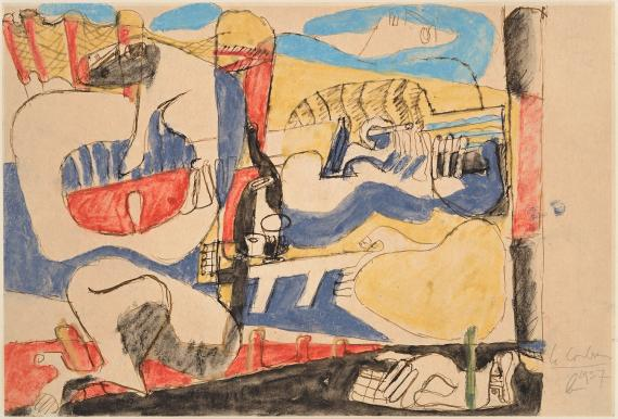 "Le Corbusier, ""Deux musiciennes sur la plage"", 1937 pastel and ink on paper 21 x 30,5 cm © FLC/ADAGP Paris, 2017"