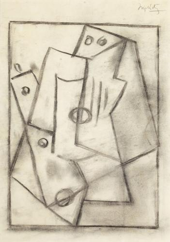 """Jacques Lipchitz, """"Study for a Bas Relief"""", 1918, charcoal on paper, 34,9 x 24,1 cm"""
