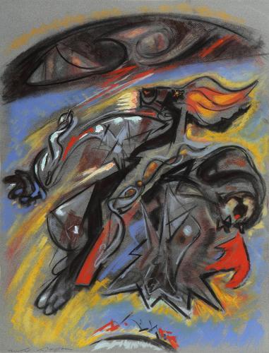 """André Masson, """"Tête d'or (Détail du plafond de l'Odéon)"""", 1965 pastel on paper 65 x 49,8 cm"""