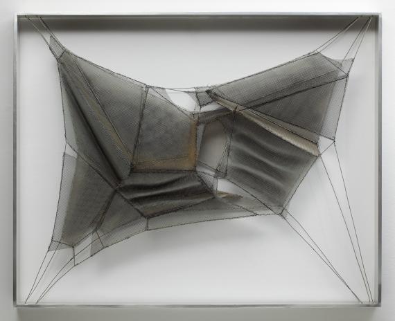 Manuel Rivera, 'Tiritaña XI', 1975 metal mesh, wire, oil  65 x 81 cm