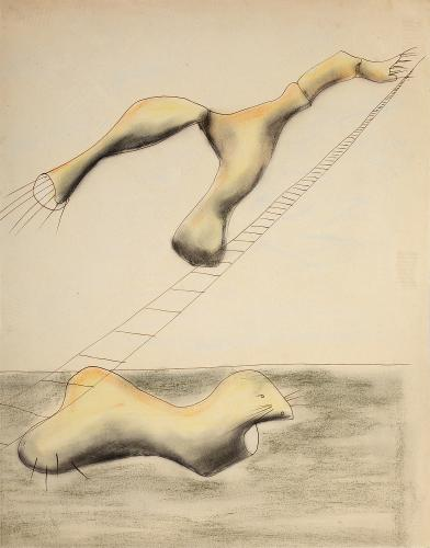 "Jaume Sans, ""Drawing for the work 'El benefactor trompeta'"", 1932-1935 ink and pastel on paper 34,7 x 27 cm"