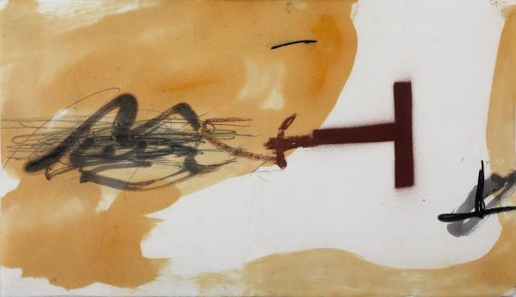 Joan Miró 'Maqueta de la cubierta del catálogo de la exposición....' 1981 varnish, pencil on paper 25,5 x 44,3 cm