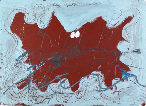 "Antoni Tàpies ""Ondulacions blaves"" 1971 acrylic and pencil on paper on wood 64,8 x 88,9 cm"