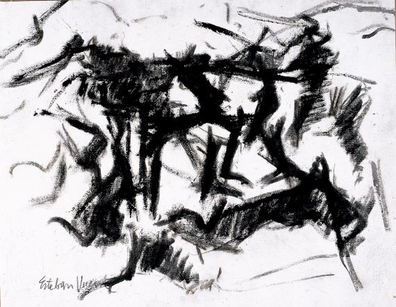 "Esteban Vicente, ""Sin título"", 1964 ink and charcoal on paper 37 x 47,5 cm"