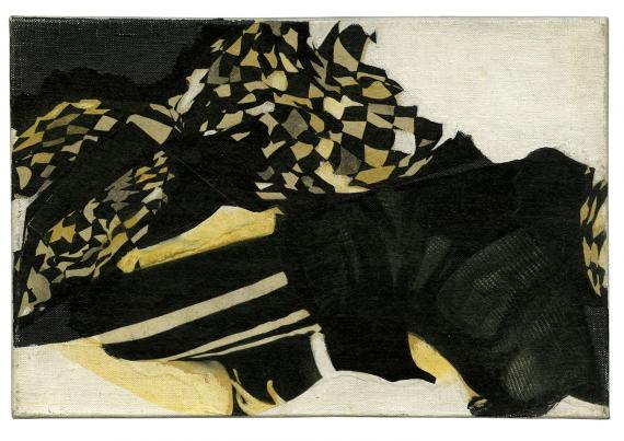 "Joan Rabascall, ""Untitled (Serie 'Essai sur une Psychologie Collective')"", 1965 collage on canvas 16 x 24 cm"