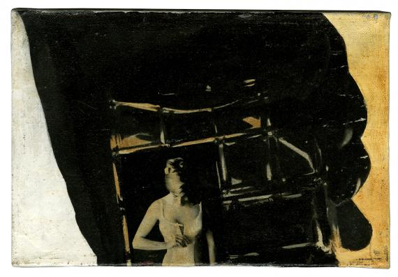 """Joan Rabascall, """"Untitled (Serie 'Essai sur une Psychologie Collective')"""", 1966 collage acrylic on canvas16 x 24 cm"""