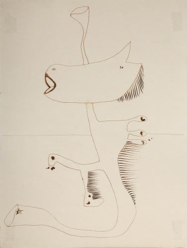 "Jaume Sans, ""Dibujo preparatorio de la obra 'El benefactor trompeta'"", 1932-1935 tinta sobre papel 32 x 24 cm"