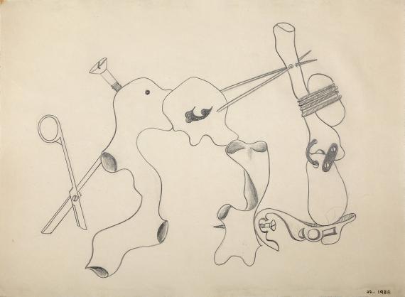 "Jaume Sans, ""Dibujo preparatorio de la obra 'El benefactor trompeta'"", 1933 lápiz sobre papel 31 x 41,5 cm"