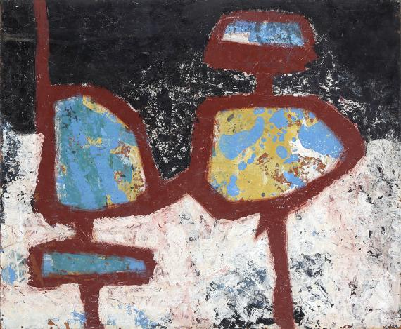 "Jaume Sans, ""Sin título'"", 1954-1957 óleo sobre madera 59,5 x 72,5 cm"