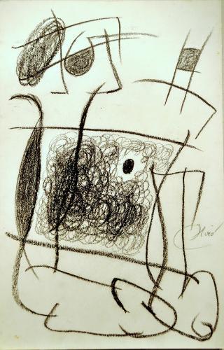 """Joan Miró, """"Personnage, chien, échelle de l'évasion"""", 1977, wax crayon on carton, 50 x 32,5 cm"""