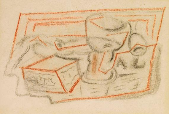 """Juan Gris, """"Verre, pipe et boites"""", 1924, charcoal on paper, 25,7 x 31,4 cm"""